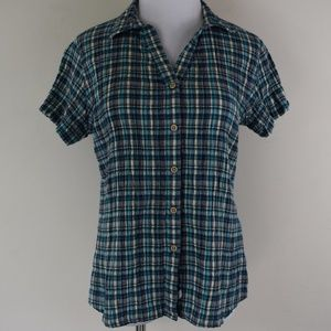 Woolrich Size Small Crinkled Plaid Button Up Shirt